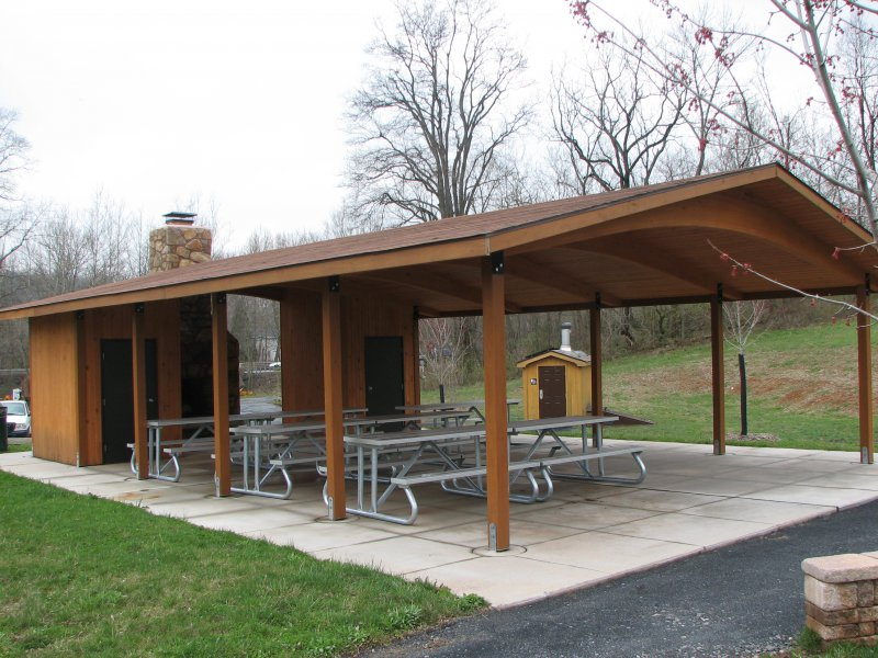 24' x 44' glu lam pavilion with fireplace and storage